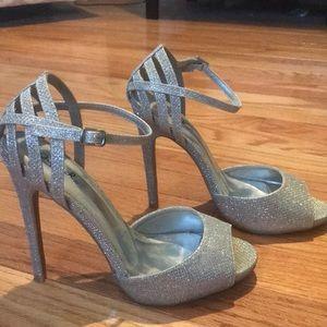Shoes - Silver Open Toe Stilettos